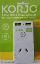 Two Port USB Hub2.4A Adapter AU AUS and Italy Switzerland Chile Brazil Wall Plug