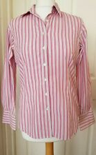 Womens THOMAS PINK striped classic Fitted Shirt UK 10 Pink Blue VGC
