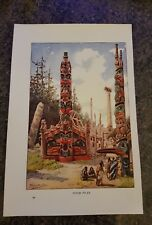 19th century Colour Lithograph Totem Poles