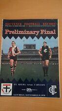 1970 AFL PRELIM FINAL FOOTBALL RECORD ST.KILDA CARLTON