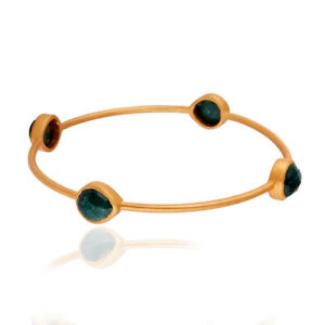 Handmade Yellow Gold Plated Brass Emerald Bangle Bracelet Fashion Jewelry