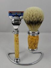 3PC SHAVING SET Hand Turned from MASUR BIRCH w/ stand. A wonderful gift item #1