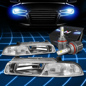 Fit 1995-2000 Chrysler Cirrus Replacement Headlights w/LED Kit+Cool Fan Chrome