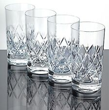 4 Longdrink Gläser Becher Kristall Glas Schliff 14 cm hohe Saftgläser