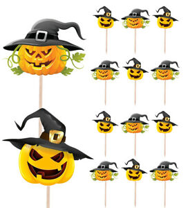 Witch Pumpkins Halloween Cupcake & Party Food Toppers Decorations Picks 14 Pack