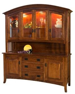 """Amish Arts & Crafts Hutch China Cabinet 4-Door Arched Solid Wood Cambria 72"""""""