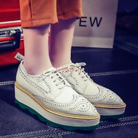 Women Oxfords Carved Wedge Heels Platform Pointy Toe Casual Brogues Pumps Shoes