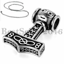 Mens Stainless Steel THOR'S HAMMER Viking Amulet Pendant Necklace Free Chain 22""
