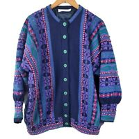 Vintage Annie Hall Retro Textured Knit Sweater Cardigan Coogi Style Cosby Large