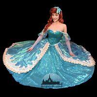 P157 New Little Mermaid Aqua Custom gown princess Ariel teal sequins shell