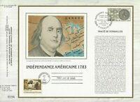 Foglio CEF 1er Giorno Sul Seta Francia Indipendenza Americana 1983