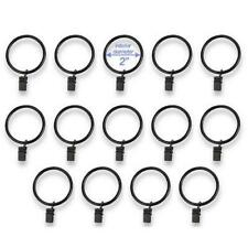 "Set of 14 Decorative Drapery Curtain Clip Rings, 2"" Interior Diameter, Black"