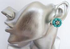 FAB Orecchini a Perno Fiore Turchese Stile Retrò con cristalli e diamante Rockabilly