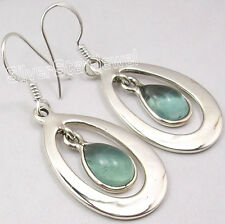 """925 Solid Silver CABOCHON APATITE DESIGNER DROP Earrings 1.7"""" GIRLS' JEWELRY"""
