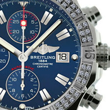 Breitling Super Avenger Aeromarine A13370 Blue Sticks Dial 2 Row Diamond Bezel