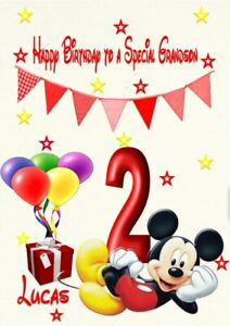 Personalised birthday card Micky Mouse daughter granddaughter1st 2nd 3rd 4th
