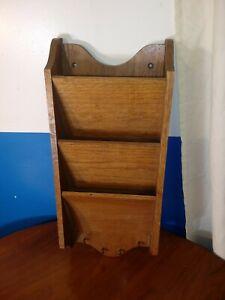 Vintage Handmade Wood Wall Mounted 3 Section Bill Box Organizer w/ Key Pegs USA
