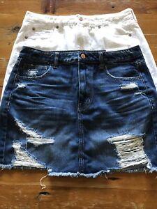 Lot Of 2 High Rise Denim Jean Mini Skirts American Eagle Size 12