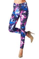 Angry Rabbit Women's Galaxy Print Premium Denim Skinny Jeans, Size 29