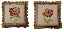 "Pair of 16"" x 16"" Handmade Wool Needlepoint Red Rose Peony Pillows with Tassels"