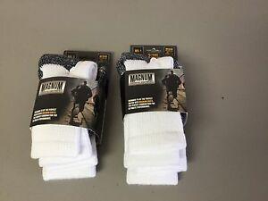 NWT Men's Women's Magnum Heavyweight Crew Boot Socks Medium White 4 Pair #193P