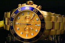 New Invicta Pro Diver 50MM Chrono 18K Gold Plated Gold Dial S.S Bracelet Watch