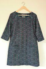 SEASALT MEN AN TOL Teal/Purple Floral Print Corduroy Arty Tunic Dress Size 10