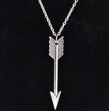 Silver Plated Arrow, Pendant, Long Chain Necklace, Gift Friend Partner Loved One