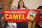 """Vintage 1950's Camels Camel Cigarettes Tobacco 32"""" Metal Sign"""