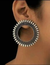 India Earring Traditional Antique Silver Oxidized Bollywood Jhumka Women Jewelry