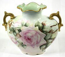 Antique Porcelain Pillow Vase / Urn 1902 Pouyat Jean Limoges France S.H Roberts