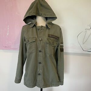 American Eagle Removable Hooded Utility Shirt Jacket Army Green Womens Sz Small