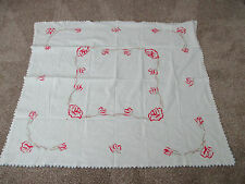 Vintage Embroidered Red Roses Tablecloth w Blue Satin Stitch Crocheted edging