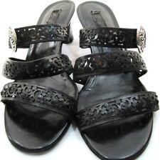 Brighton Women Heels Size 10 M Black Silver Plated Buckle 2.25 Inch Heels