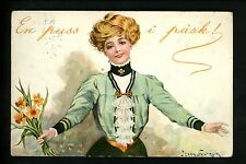 Artist Signed Vintage postcard Jenny Nystrom, woman with daisies flowers