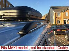 VW Caddy Maxi Stangen Schienen Dach + Abschließbar Schwarz Querstangen 75 kg