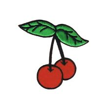 Cherry With Stem Red Felt & Embroidered Iron On Badge Applique Patch FD - 2 INCH