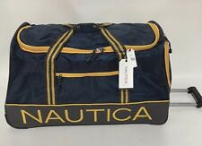 "NEW NAUTICA HIGH TIDE WHEELED DUFFLE 30"" ROLLING BAG DUFFLE NAVY GREY $300"