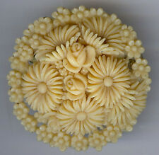 PRETTY VINTAGE CREAMY CELLULOID CARVED FLOWERS CIRCULAR PIN