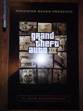 GRAND THEFT AUTO III / GTA3 / 10 YEAR ANNIVERSARY GOLD USA BOXART / PROMO POSTER