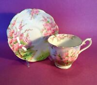 Royal Albert Pedestal Tea Cup And Saucer - Blossom Time - Cherry Trees - England