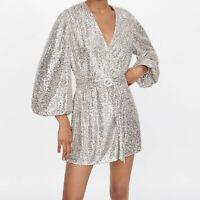 ZARA NEW MNI SEQUIN DRESS BLAZER PUFF SLEEVES V-NECK BELT SILVER XS-XL 7676/002