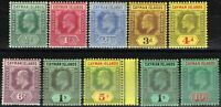 Cayman Islands 1907-09 set of 10 SG25-34 Fine & Fresh Mtd Mint