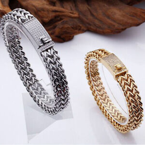 Charm Crystal Bracelet Stainless Steel Jewelry Bangles Iced,Out Figaro Chain