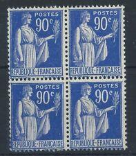 FRANCE 1938 SG511b 90c Blue Peace Block of 4  Mint MNH