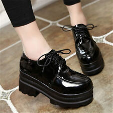 Women Lace Ups Patent Leather Ankle Boots High Platform Creepers Flats Oxfords