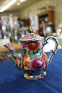 Vintage Decorative Multi Floral Teapot Hand Painted Flowers Red Pink Gold