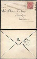 GB KE7 1909 MOURNING ENVELOPE with MONOGRAM CROWNED EB LONDON SW to MALVERN