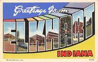 Elkhart Indiana~Large Letter Linen Postcard~High School~Miles Laboratories~1946