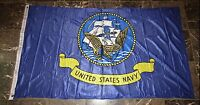 3x5 U.S. Navy Ship Emblem Seal Poly Nylon Knitted Flag 3'x5' w/ Outrigger Clips